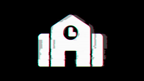 From the Glitch effect arises town hall symbol. Then the TV turns off. Alpha channel Premultiplied - Animation