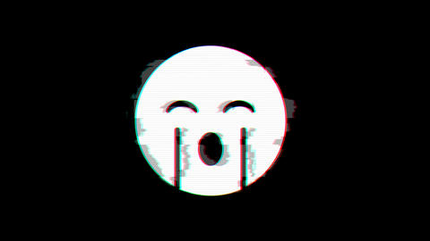 From the Glitch effect arises sad cry symbol. Then the TV turns off. Alpha channel Premultiplied - Animation