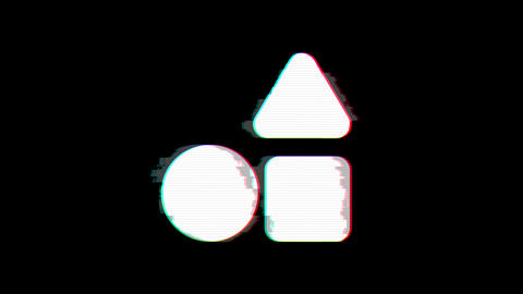 From the Glitch effect arises shapes symbol. Then the TV turns off. Alpha channel Premultiplied - Animation