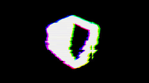 From the Glitch effect arises shield symbol. Then the TV turns off. Alpha channel Premultiplied - Animation