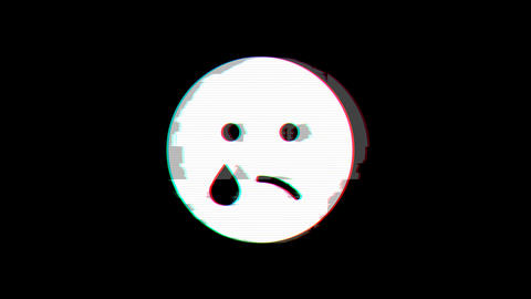 From the Glitch effect arises sad tear symbol. Then the TV turns off. Alpha channel Premultiplied - Animation