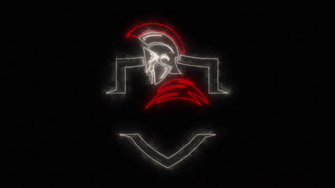 Red White Spartan Warrior Logo Loop Graphic Element Animation