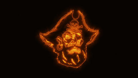 Orange Burning Pirate Head Animated Logo with Reveal Effect GIF