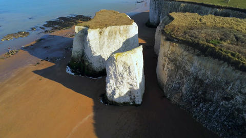 Beautiful Botany Bay and chalk rocks in England from above Stock Video Footage