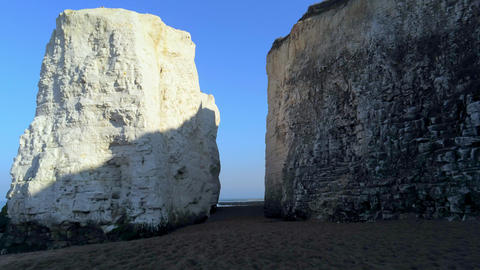 White cliffs and chalk rocks at Botany Bay England Live Action