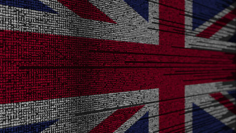 Program code and flag of the United Kingdom. British digital technology or Live Action
