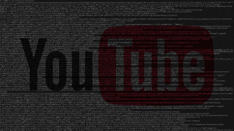 YouTube logo made of source code on computer screen. Editorial loopable Live Action
