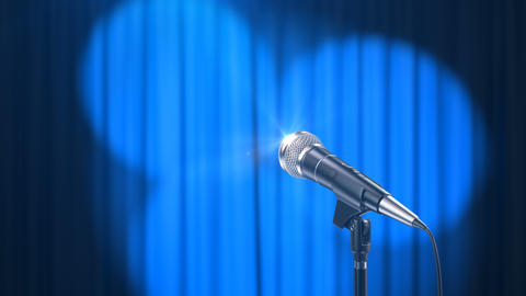 Microphone and a Blue Curtain with Rotating Spotlights Animation