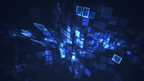 Abstract blue flashing rectangle grid perspective motion graphic seamless looping background Animation