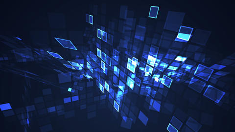 Abstract blue flashing rectangle grid perspective motion... Stock Video Footage