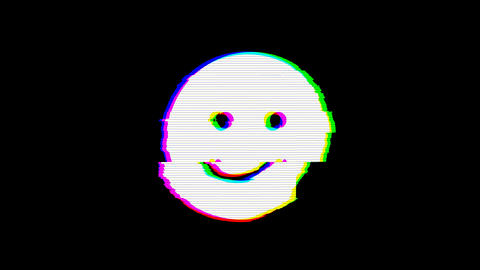 From the Glitch effect arises smile symbol. Then the TV turns off. Alpha channel Premultiplied - Animation