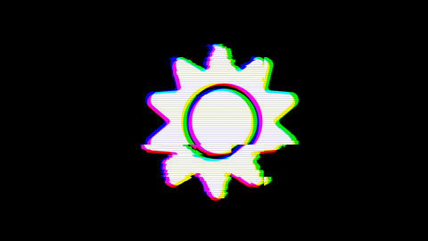 From the Glitch effect arises sun symbol. Then the TV turns off. Alpha channel Premultiplied - Animation