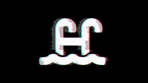 From the Glitch effect arises swimming pool symbol. Then the TV turns off. Alpha channel Animation