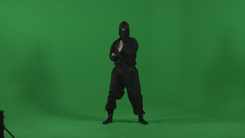 Ninja expertly moves through fighting forms in studio Footage