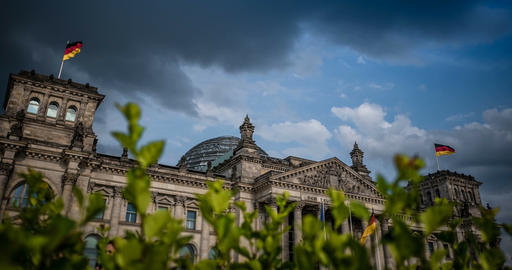 4K, Time Lapse, Reichstag Building, Berlin Footage