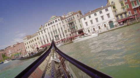 Traveling view of some of the buildings on the Grand Canal from a Gondola Footage