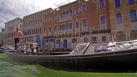 Gondolier ride in slow motion Footage