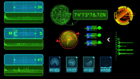 hud systems navigation with black background and alpha channel Animation