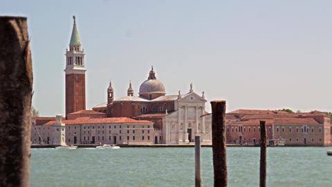 Slow motion shot of the Church of San Giorgio Maggiore from across the canal Footage