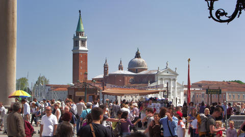 Slow motion shot of crowds near the Piazza San Marco entrance Footage