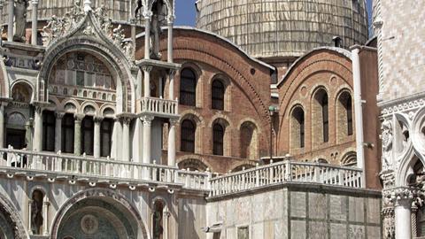 Slow motion tilt shot of Basilica San Marco Footage