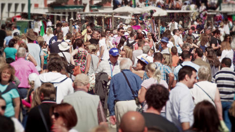 Slow motion shot of crowds in Venice Footage