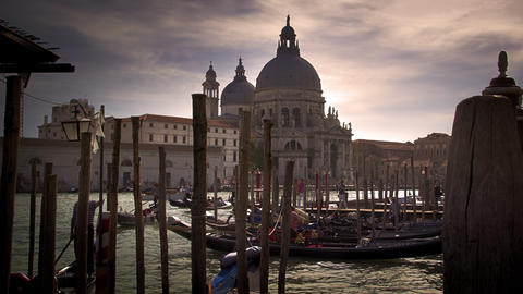 Gondola docks across from Santa Maria della Salute Footage