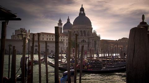 Gondola docks across from Santa Maria della Salute Footage