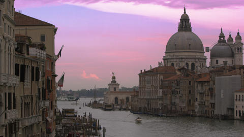 Slow motion shot of Santa Maria della Salute and the Grand Canal Footage
