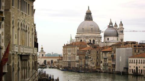 Santa Maria della Salute dome and waterfront buildings in Venice Footage