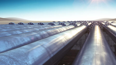 Flight at Many Pipelines. Looped 3d animation. HD 1080. Steel Pipelines. Technol Animation