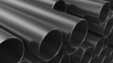 Rows of Metal Pipes. Looped 3d animation. Construction Concept. HD 1080 Animation
