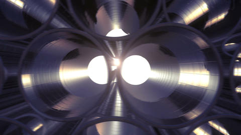 Rows of Metal Pipes with reflections and Sun Flares inside. Looped 3d animation. Animation