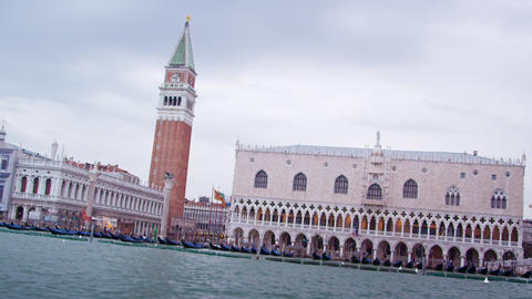 Tracking shot of the Piazza San Marco in Venice from water bus Footage
