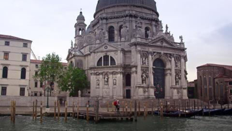 Santa Maria della Salute from canal in Venice Footage