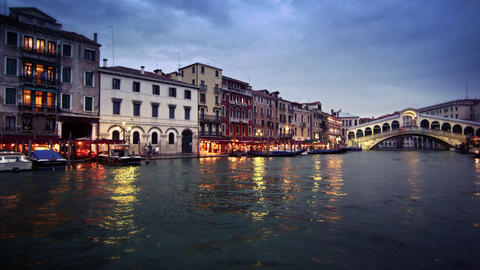 Footage of shops and Rialto Bridge at dusk Footage