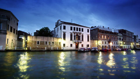 Stationary shot of waterside buildings on the Grand Canal Footage