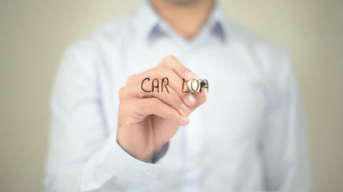 Car Loan Approved, Man writing on transparent screen Footage