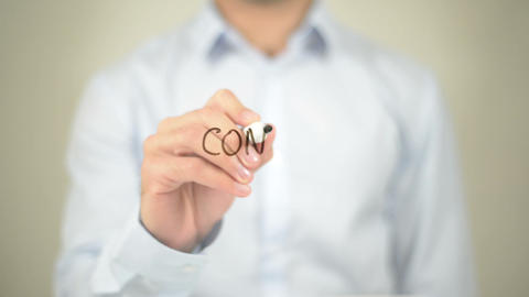 Conflict, Man Writing On Transparent Screen stock footage