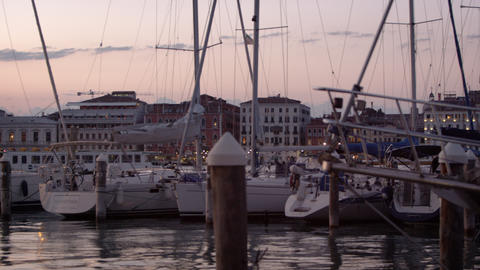 Panning shot of sailboats at the marina of San Giorgio Maggiore, Venice Footage