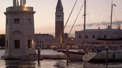 Static shot of sailboats at the marina of San Giorgio Maggiore, Venice Footage