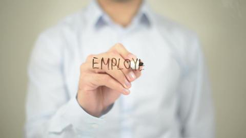 Employee Motivation, Man Writing On Transparent Screen stock footage