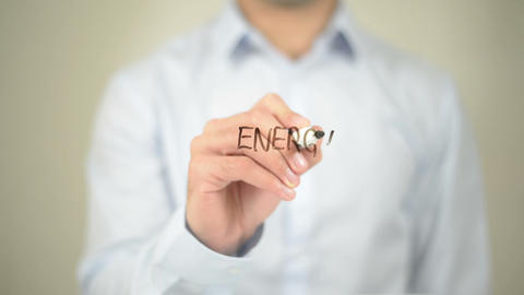 Energy Management, Man writing on transparent screen Live Action