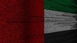 Program code and flag of the UAE. United Arab Emirates digital technology or Live Action
