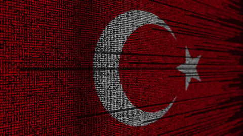 Program code and flag of Turkey. Turkish digital technology or programming Footage