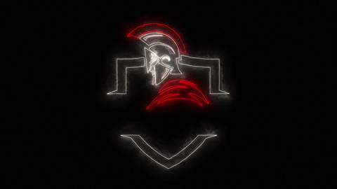 Red White Spartan Warrior Logo Element with Reveal Effect Animation