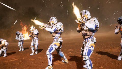 The commander and his soldiers of the future attack the enemy in the smoke in the middle of Animation