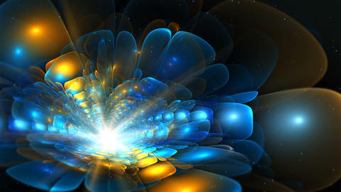Abstract colorful fractal flower in blue and orange color Animation