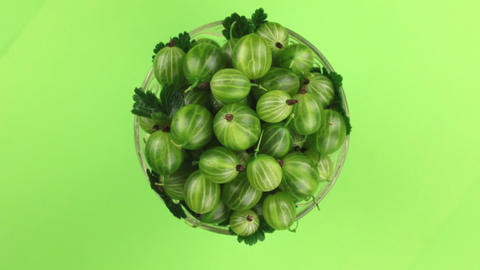 Top view, rotation of heap of ripe juicy green gooseberry. Isolated Footage