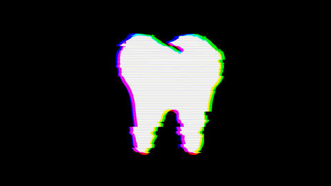From the Glitch effect arises tooth symbol. Then the TV turns off. Alpha channel Premultiplied - Animation